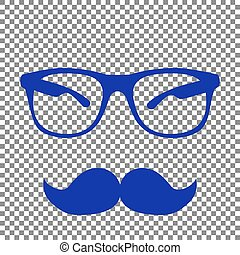 Mustache and Glasses sign. Blue icon on transparent background.