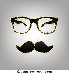 Mustache and Glasses sign. Vector. Blackish icon with golden...
