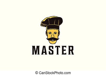 mustache asian chef logo Designs Inspiration Isolated on White Background