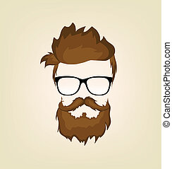 mustache beard glasses hairstyle beard, glasses, icon, hipster