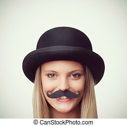 Mustache - Blonde girl with mustache looking at camera