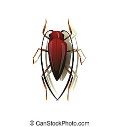 Mustache cockroach on white background. Vector illustration.