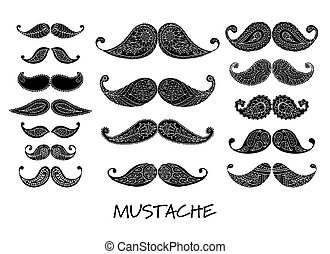 Mustache collection, ornate sketch for your design. Vector...