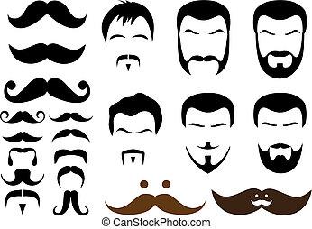 mustache designs - set of mustache and beard designs, vector
