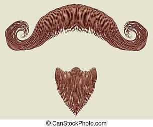 mustache, en, baard