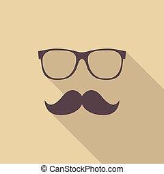 mustache, en, bril