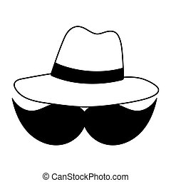 mustache hat hipster fashion isolated icon over white background line style