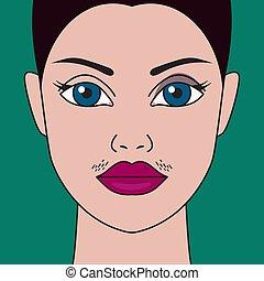 hormonal imbalance, high testosterone - Mustache have women...