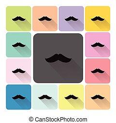 Mustache Icon color set vector illustration