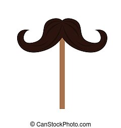 Mustache icon on a stick