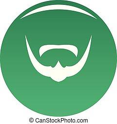 Mustache icon vector green
