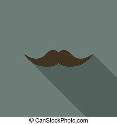 Mustache icon with long shadow in a flat design