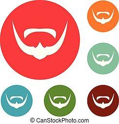 Mustache icons circle set vector