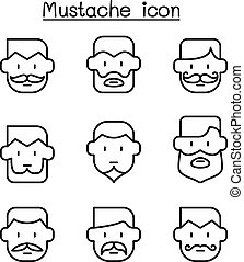Mustache icons set in thin line style