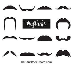 mustache., illustration, vecteur, noir, collection, hipster