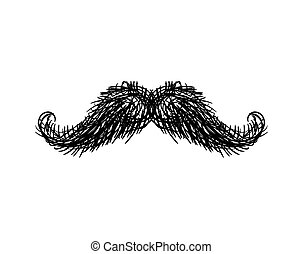Mustache isolated. Facial hair on white background