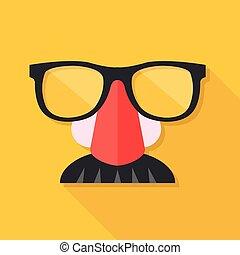 mustache., máscara, ilustração, disfarce, vetorial, nariz, fraude, mask., óculos