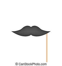 Mustache on stick isolated on white back