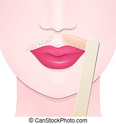 hair removal wax - mustache on the upper lip of a woman,...