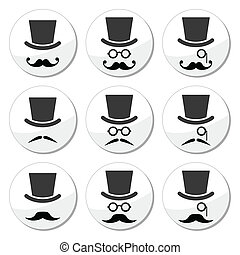Mustache or moustache with hat - Senior, gentleman with...