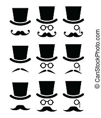 Mustache or moustache with hat - Senior, gentleman with ...