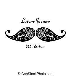 Mustache, ornate sketch for your design. Vector illustration