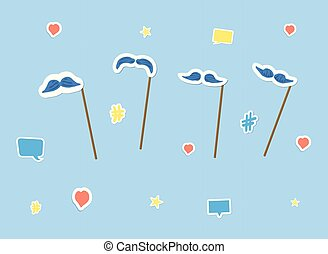 Mustache props set with stickers. Vector illustration.