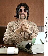 mustache retro businessman vintage office - mustache retro...