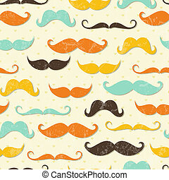 Mustache seamless pattern in vintage style. EPS 10 vector...