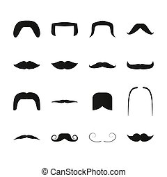 Mustache simple black icons. Retro and modern facial hair...