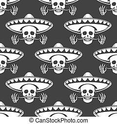 Mustache skull in sombrero seamless pattern