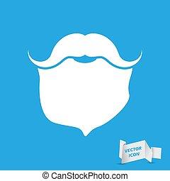 Mustache with beard - vector icon