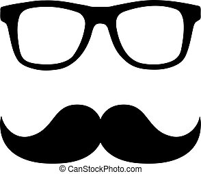 vector hipster avatar with geek glasses and mustache vector hipster