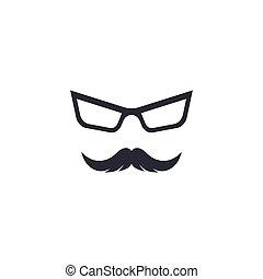 Mustache with glasses logo icon