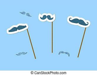 Mustacheprops set on blue background. Vector illustration.
