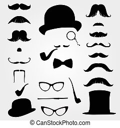 Mustaches and retro accessories - Mustaches and other retro...