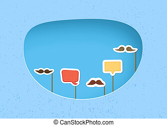 Mustaches and speech bubble with sticks. Vector illustration.
