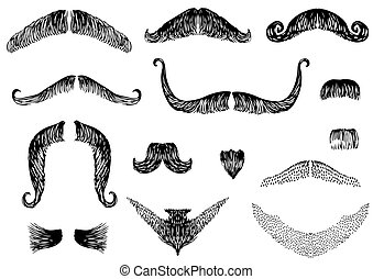 Mustaches for man.Vector collection on white for design