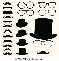 mustaches, hoedjes, bril