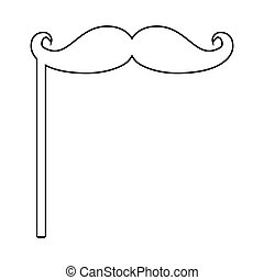 Mustaches on the stick icon . Black color . Flat...