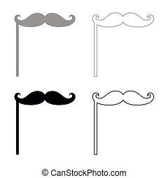 Mustaches on the stick icon . Illustration grey and black...