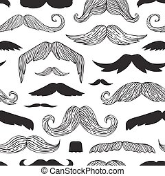 Mustaches seamless pattern hipster doodle curly beard...