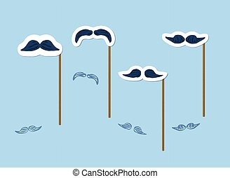 Mustaches set with wood sticks. Vector illustration.