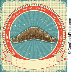 Mustaches symbol set on old paper texture.Vintage background