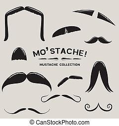 mustachio!, ベクトル, セット, 口ひげ