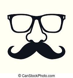 mustachioed, glasses., człowiek