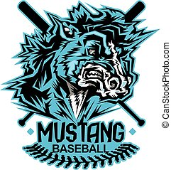mustang baseball team design with mascot and crossed bats...