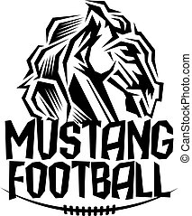 mustang football team design with mascot head for school,...