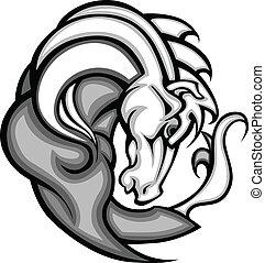 mustang, gráfico, semental, vec, mascota