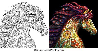 Mustang horse coloring - Mustang horse. Colorless and color...